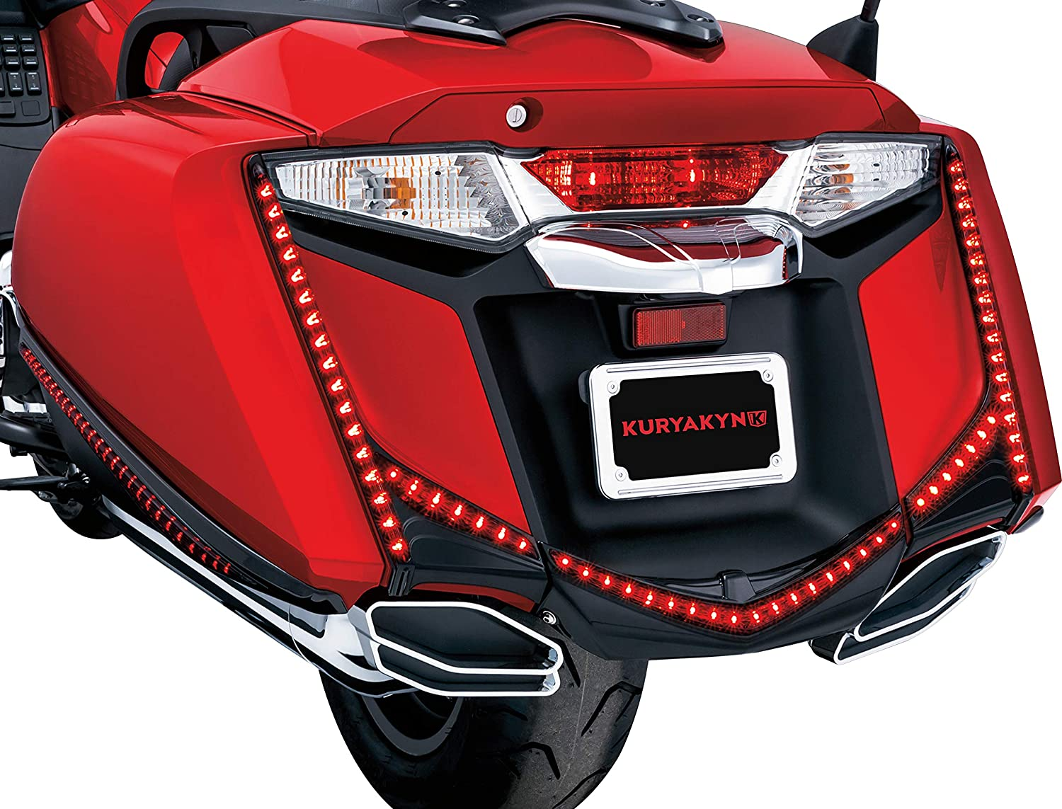 Chrome Small License Plate Frame Universal Fit for 4 x 7 Plates Kuryakyn 9163 Motorcycle Accent Accessory