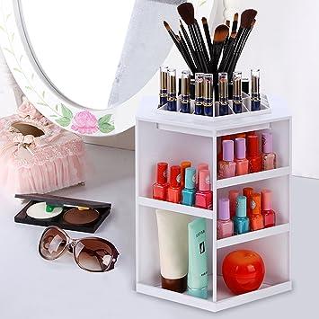 Homdox Makeup Organizer Tabletop 360° Rotating Cosmetics Storage Case