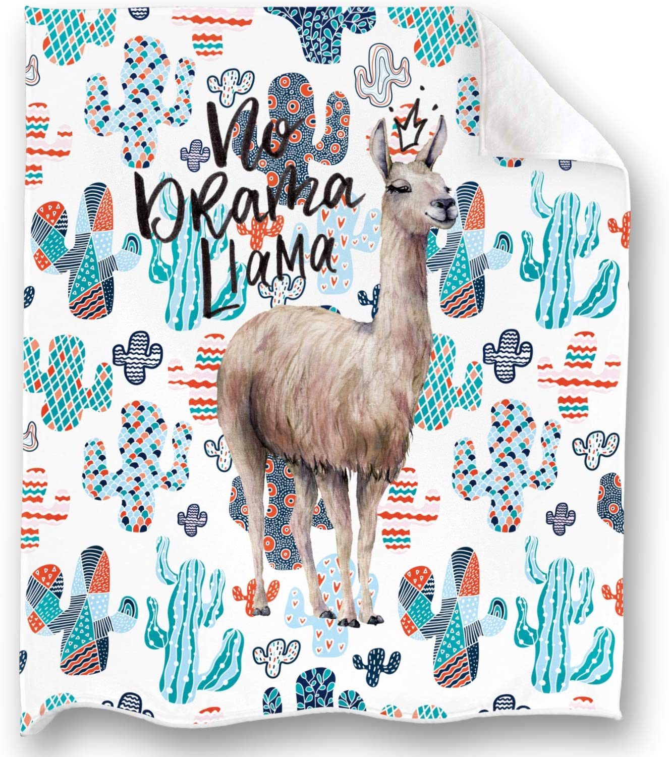 Loong Design Llama and Cactus Throw Blanket Super Soft, Fluffy, Premium Sherpa Fleece Blanket 50'' x 60'' Fit for Sofa Chair Bed Office Travelling Camping Gift