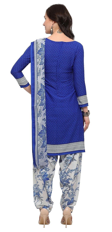 Rajnandini Brown And Blue Crepe Printed Dress Material Combo Of 2