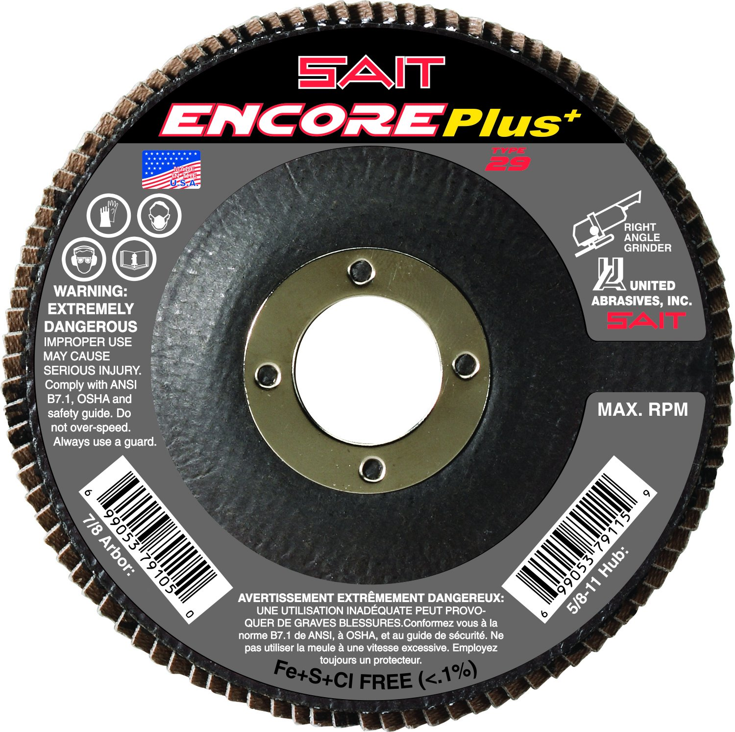 United Abrasives- SAIT 72917 Encore Flap Disc with 5-Inch-Inch Diameter and 5/8-11-Inch Arbor, 10-Piece