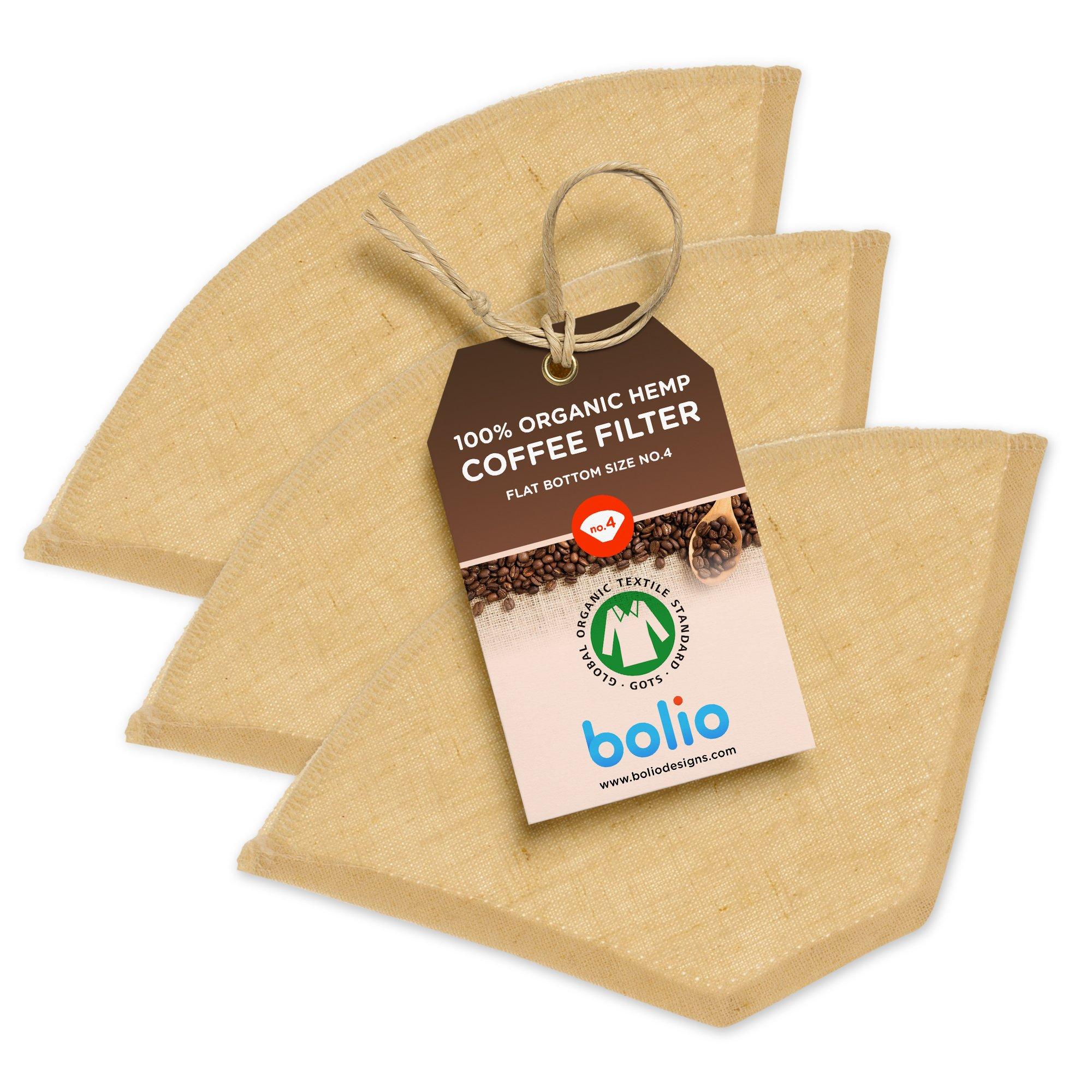 Bolio Organic Hemp Cone Coffee Filter - Reusable and Great for Making Smooth pour Over Coffee - No Plastics - Eco-Friendly Bacteria Resistant Material (Flat bottom, Size No.4, 3-pack)