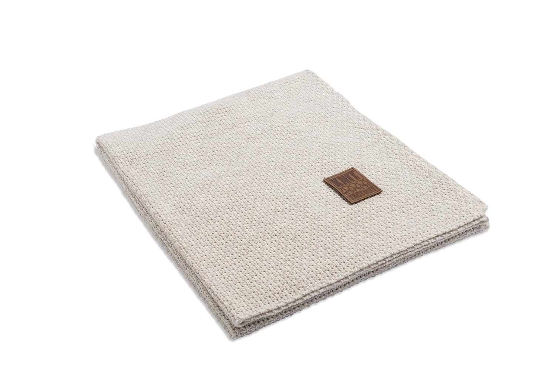 Knit Factory 091112 Strickdecke Plaid Jesse, 130 x 160 cm, beige