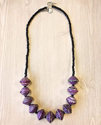 Paper Bead Chunky Asali Necklace - Purple - Fair Trade BeadforLife Jewelry from Africa