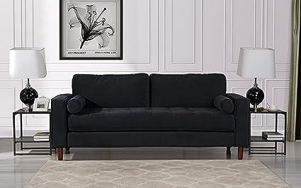 Superb Mid Century Modern Velvet Fabric Sofa, Couch Bolster Pillows (Black)