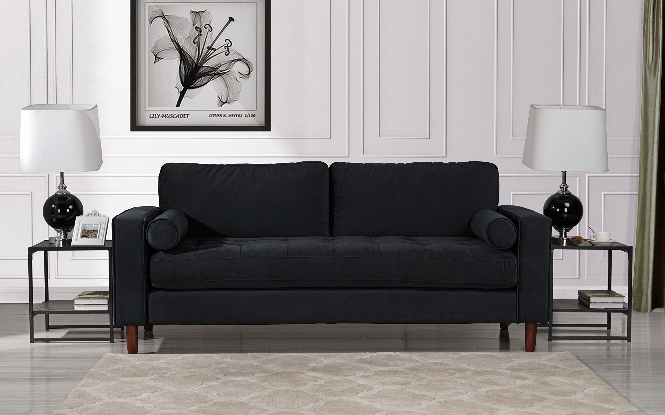 Mid Century Modern Velvet Fabric Sofa Couch With Bolster