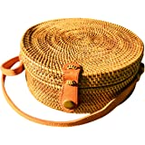 LUZAL Ata Tasche, Blue, Bali-Bag, Clip, Korbtasche rund, Bag round, Basketbag, Strohtasche, Rattanbag round, Handmade, Made in Bali, Premiumware, Hochwertig,