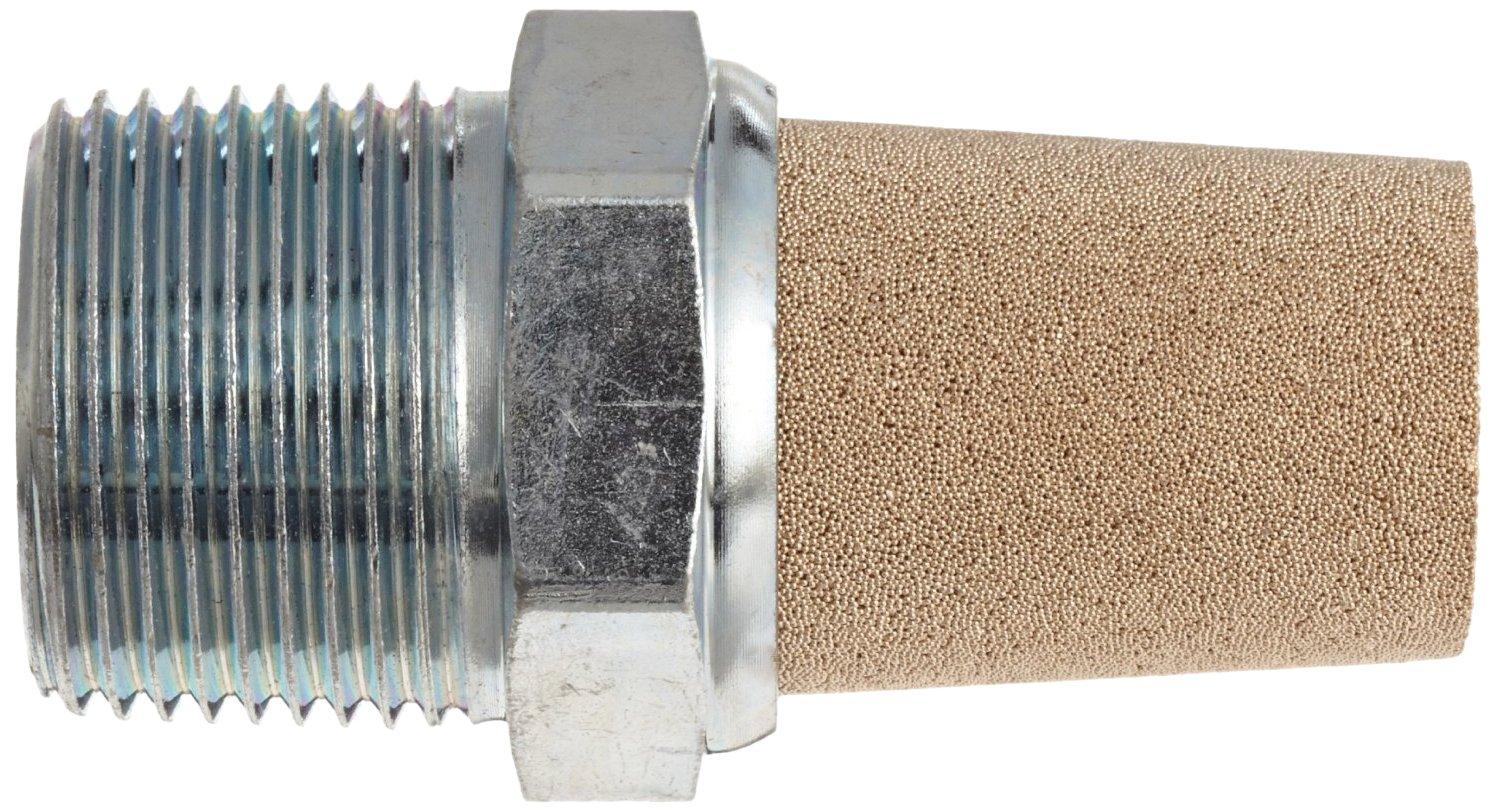 7//16 Hex Size 250 psi Parker EM12 EM Series Sintered Bronze Muffler//Filter 1//8 NPT Male