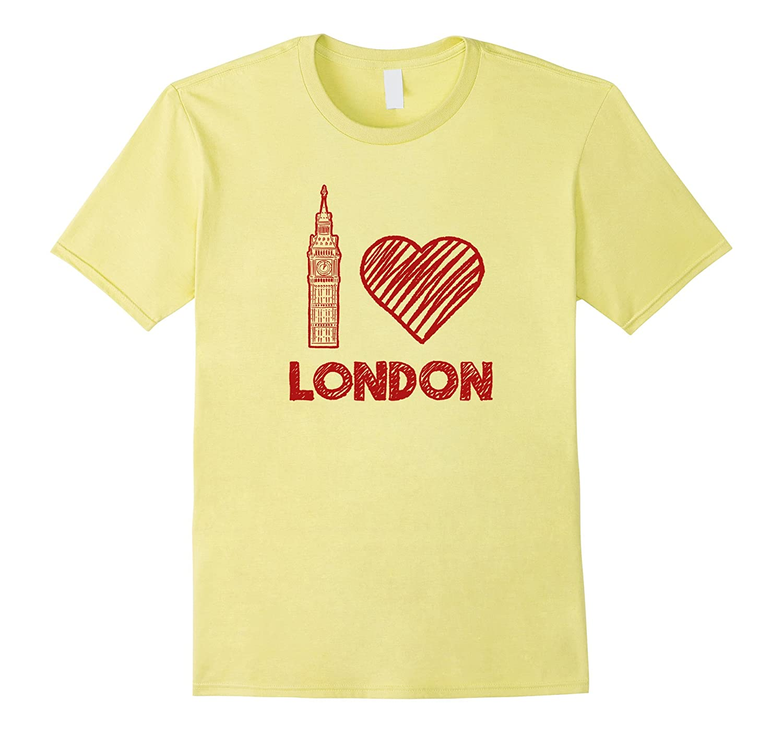 I Love Heart London Big Ben England Sketch Graphic T shirt-CD
