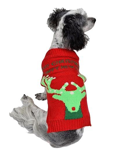 rwb pet reindeer ugly christmas dog sweater red - Ugly Christmas Dog Sweater