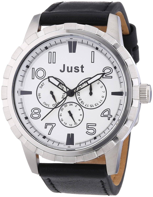 Just Watches 48-S4997SL-BK - Reloj analógico de Cuarzo para Hombre, Correa de Cuero Color Negro