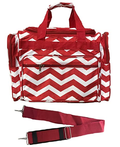 535981cfd4fc 16-inch Travel Duffle Bag | Multiple Designs to Choose From | Perfect  Travel Size Duffel Bag by Unique Traveler (Chevron-Red)