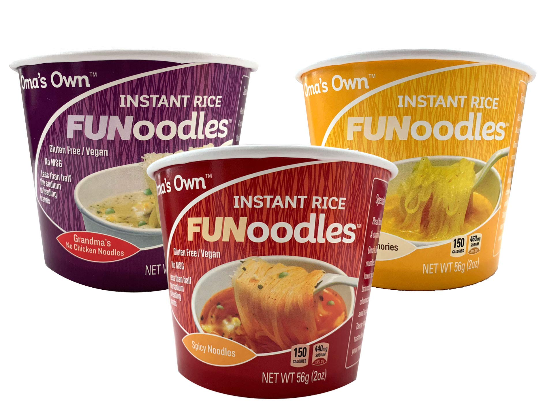 Oma's Own FUNoodles (Variety Pack) Vegetarian, Gluten Free, No MSG, Non-GMO, 2 oz cups (12 count) by OMA'S OWN