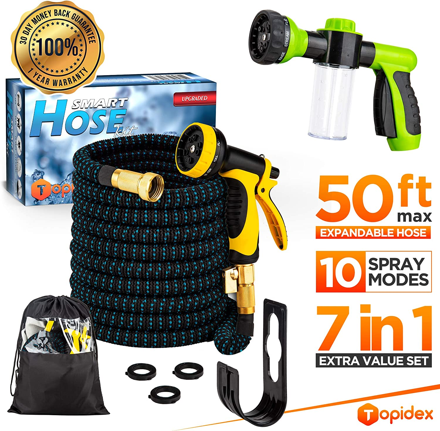 Topidex Expandable Garden Water Hose, 50 ft - Comb Set with High Pressure Spray Nozzle - Soap Dispensing Sprayer Gun - 9 Spray + 3 Foam Spraying Patterns with Storage Bag, Hanger & 3 Extra Washers