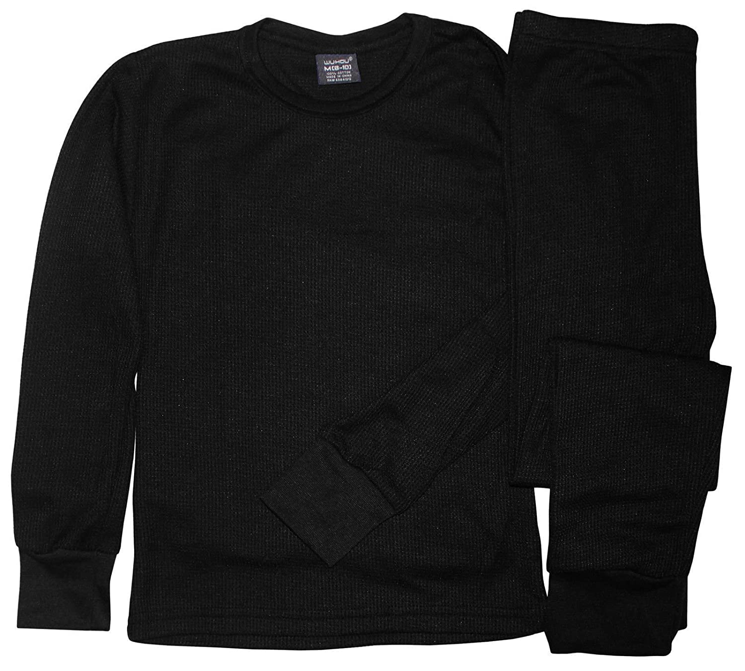 WH Boys Cotton Light Weight Thermal Top & Bottom Underwear Set Small (4-7) Black AP-2161-S-BK