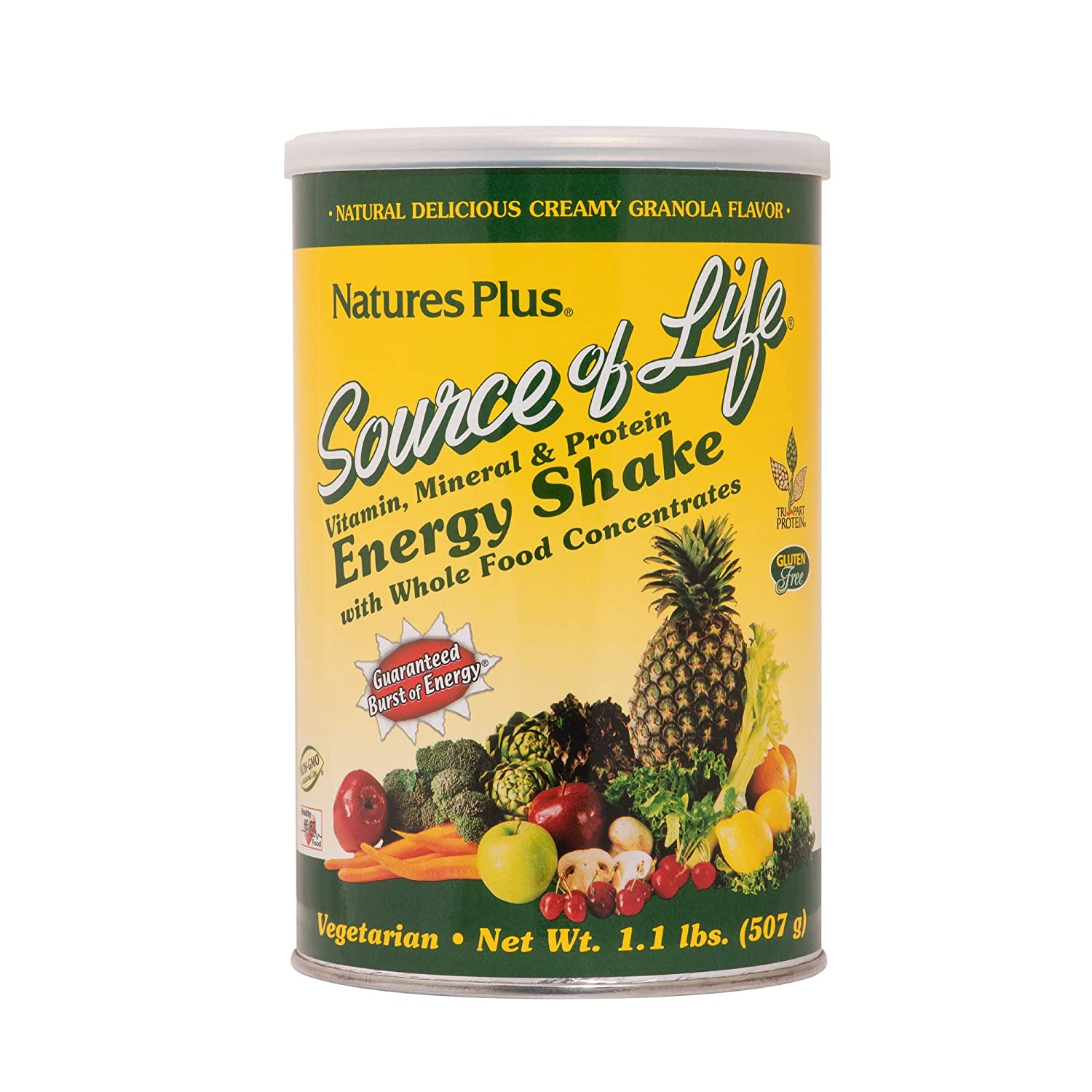 NaturesPlus Source of Life Energy Shake – 1.1 lbs Multivitamin, Mineral Protein Powder – Granola Flavor – Whole Food Meal Replacement – Non-GMO, Vegetarian, Gluten-Free – 13 Servings