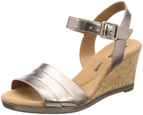 f22a9a847fb Clarks Women s Lafley Aletha Pewter Metallic Leather Fashion Sandals-6  UK India (39.5