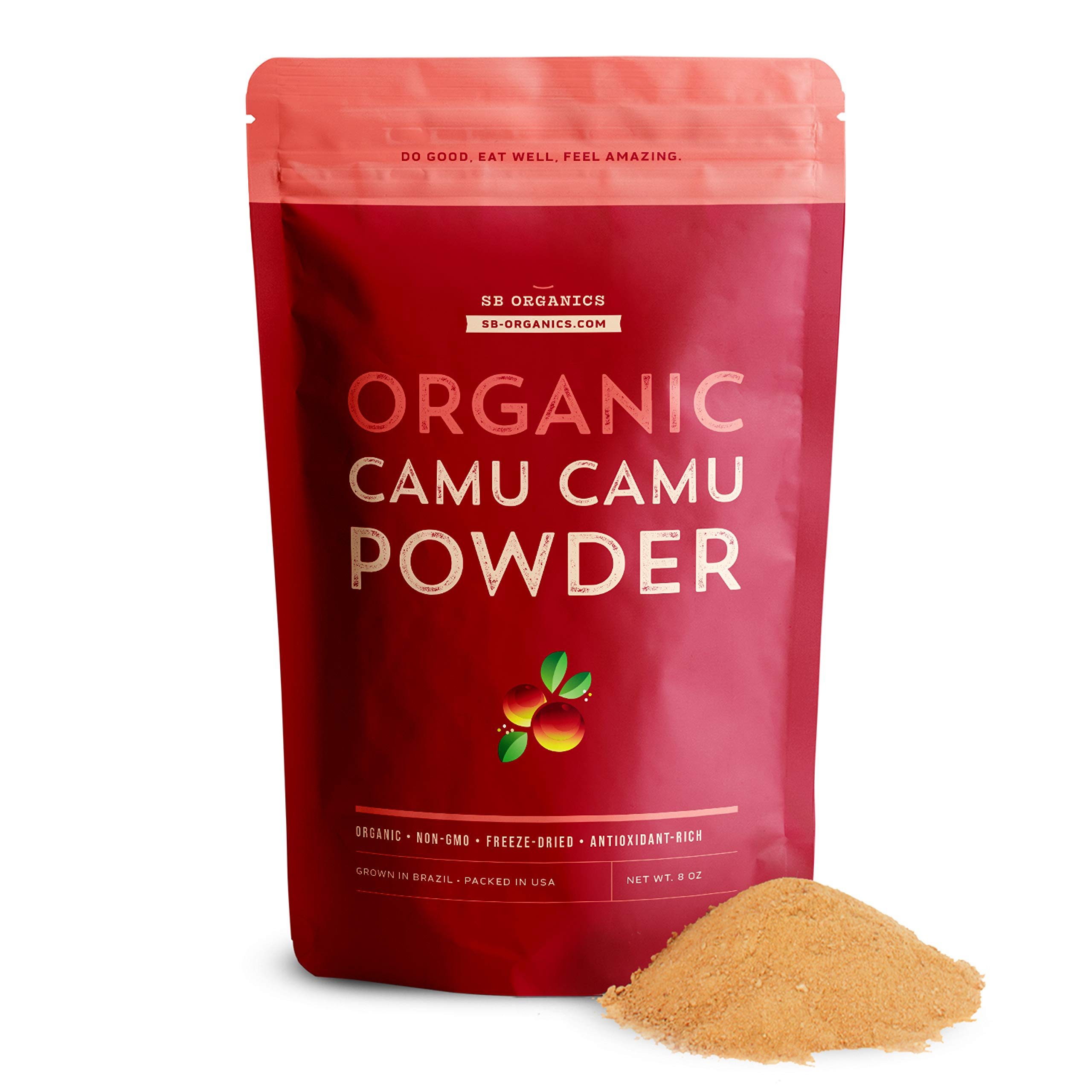 SB Organics Camu Camu Powder Organic - 8 oz Bag of Non-GMO Kosher Freeze-Dried Camu Camu Berry Pulp Powder from Brazil - Naturally Rich in Vitamin C and Antioxidants