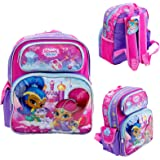 """Disney Shimmer And Shine Kids 12"""" Toddler School Backpack Canvas Book Bag Perfect"""