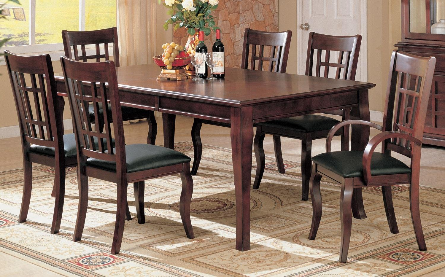 Amazon com 7pc formal dining table chairs set rich cherry finish table chair sets