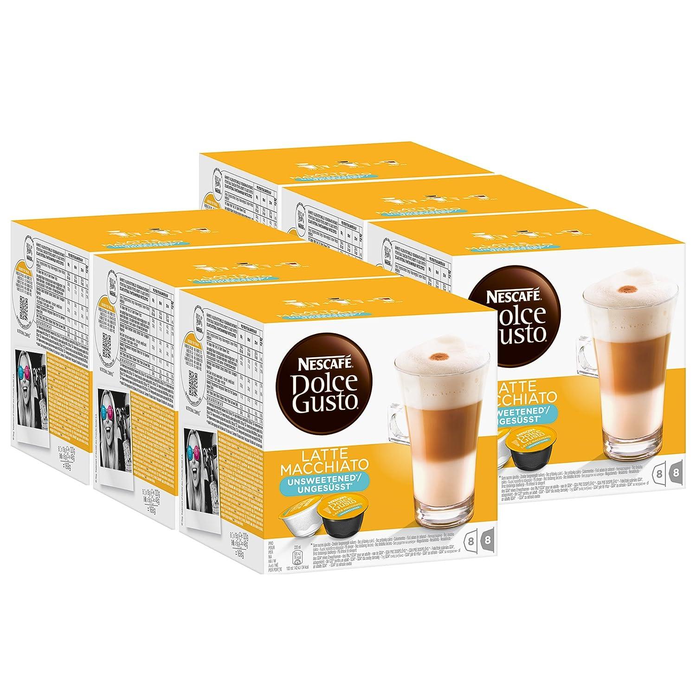 Nescafé Dolce Gusto Latte Macchiato sin azúcar, Paquete de 6, 6 x ...