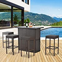 Outsunny 5pcs Rattan Bar Set Garden Dining Set Wicker Barstool and Table Outdoor Patio Furniture Dark Brown