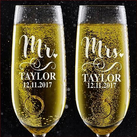 amazon com set of 2 personalized wedding toast champagne flutes