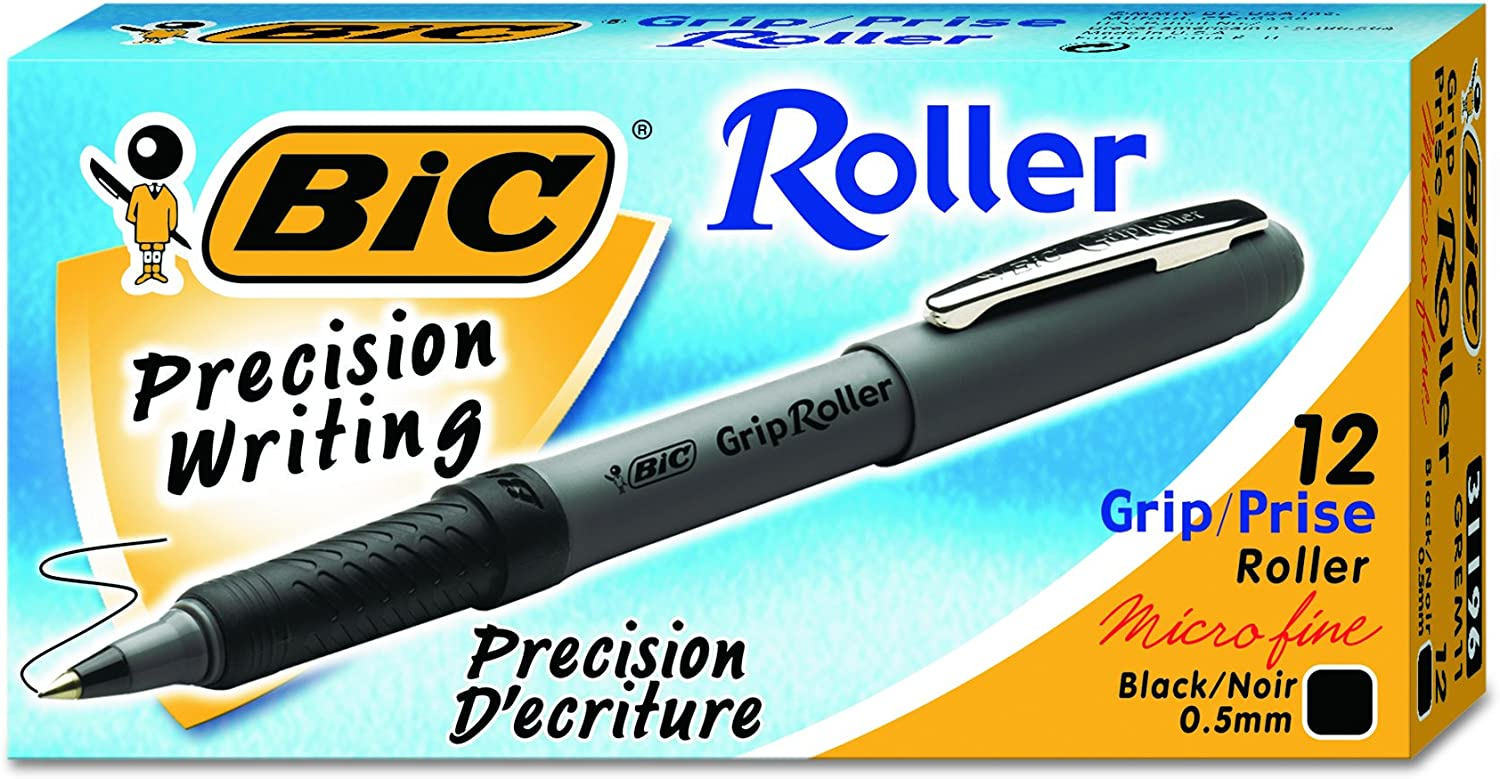 New Bic Pens Fine Writing Rubber Grip Roller Black Blue /& Red 0.7 Tip 4 PACK