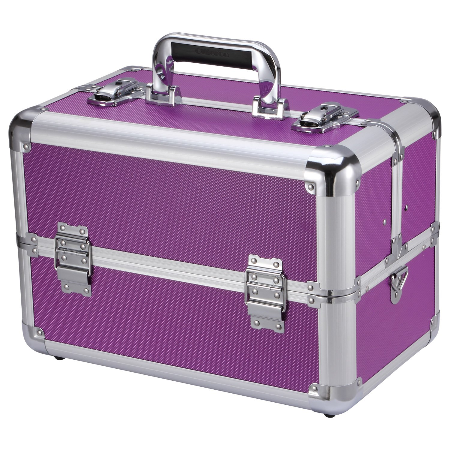 Ollieroo Makeup Train Case Professional 14'' Large Make Up Artist Organizer Kit Shoulder Bag with Adjustable Dividers Key Lock Cosmetic Studio Box Designed to Fit All Cosmetics Purple