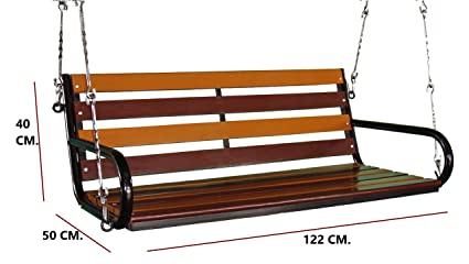 Perfect Kaushalendra Garden Zula Wooden Hanging Swing Teak Set 122 Cm