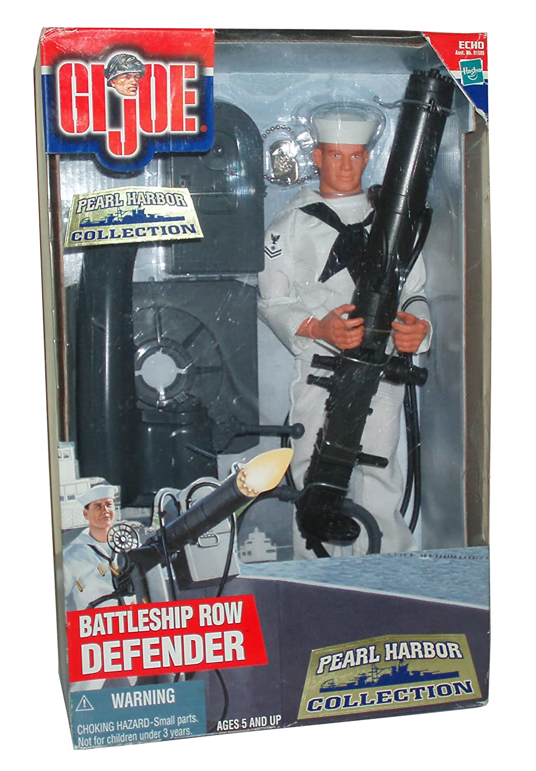 Sailor Uniform with Trousers Dress Shoes and Dog Tags Hat GI Joe Year 2000 Echo Pearl Harbor Collection Series 12 Inch Tall Soldier Action Figure BATTLESHIP ROW DEFENDER with Sailor Figure .50 Caliber Water-Cooled Machine Gun Jumper and Neckerchief