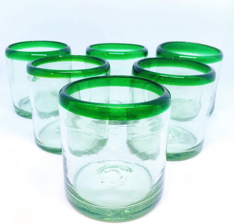 MexHandcraft Set of 6 Mexican Blown Glass DOF Rock Glasses Cobalt Blue Rim