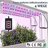 MIXC LED Pflanzenlampe Vollspektrum 28W 56 LEDs Grow Light mit 5 automatisch Timer (3H/6H/9H/12H/15H) On Off, Dimmbar 5 Stufen für Samen Pflanze Blumen mit 10 Pflanzenetiketten 2 Gartengeräte [4-Pcs]