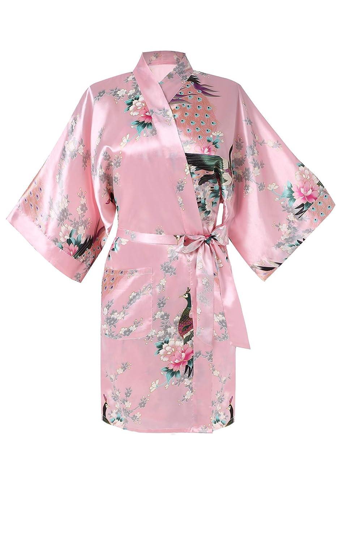 Avidlove Damen Morgenmantel Kimono Negligee Kurz aus Satin mit Peacock und Blumen Bademantel