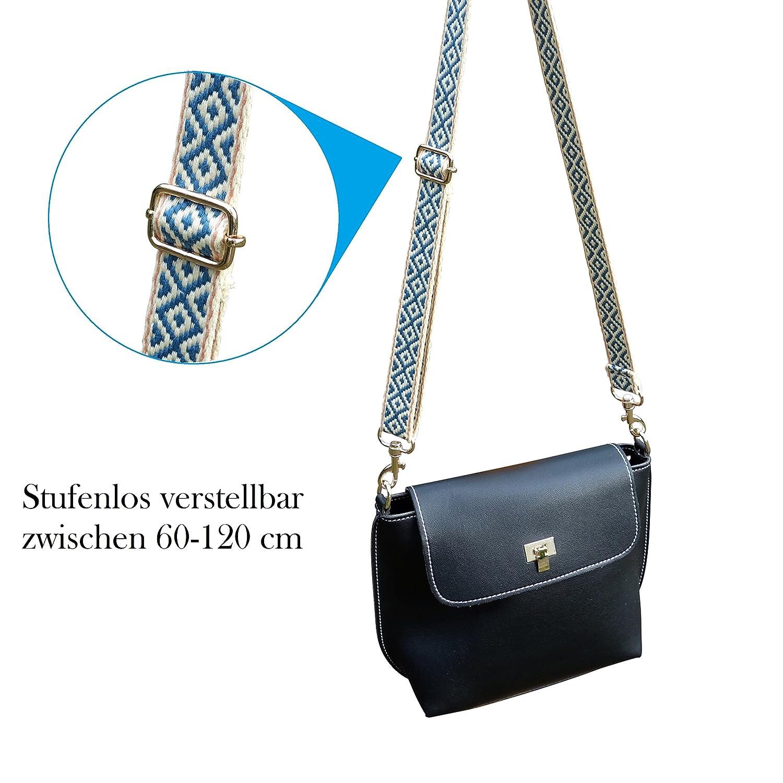 63cf9318b8e86 BENAVA Taschengurt Verstellbar - Stilvoller Crossover Schultergurt mit Karo  Muster - BOHO Tragegurt - Zubehör für alle Handtaschen 60-120 cm (Gold)  ...