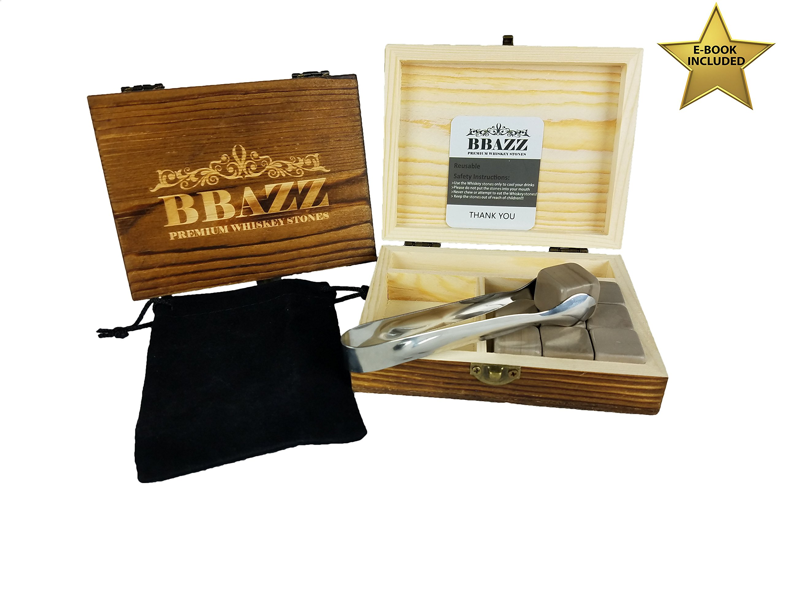 Whiskey Stones - Granite Chilling Stones Gift Set, Better Than Ice Cubes, Great For Whisky, Bourbon, Cognac, Vodka, Rum, Brandy, and Wine - By BBazz Products by BBazz Products