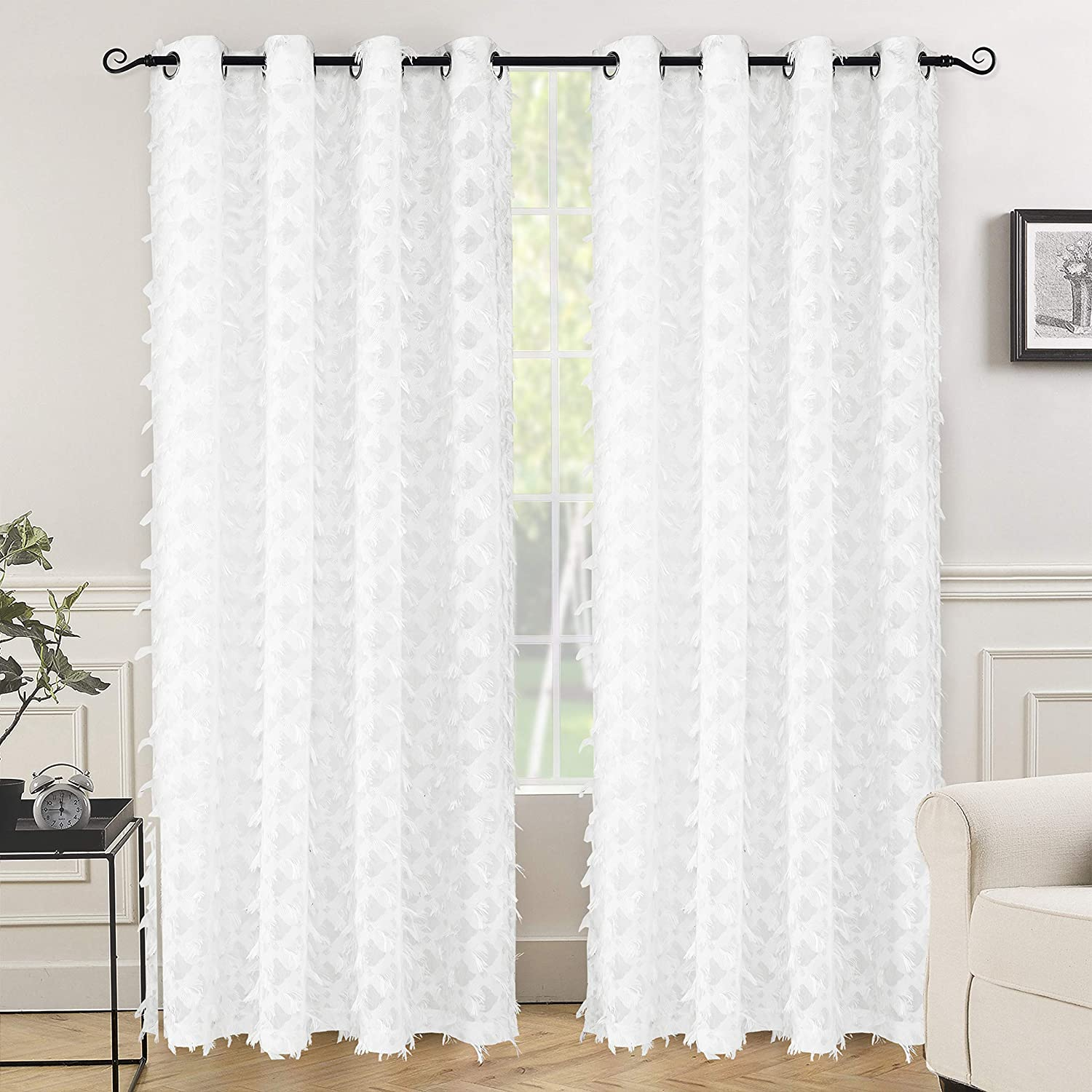 """DriftAway White Voile Grommet Semi Sheer Curtains, Woven Water Drop Geometric Pattern, Embroidered silver thread with Featherlike Soft Pom Pom Tassel, Faux Linen Texture, Set of 2, 52""""X84"""" (Off White)"""