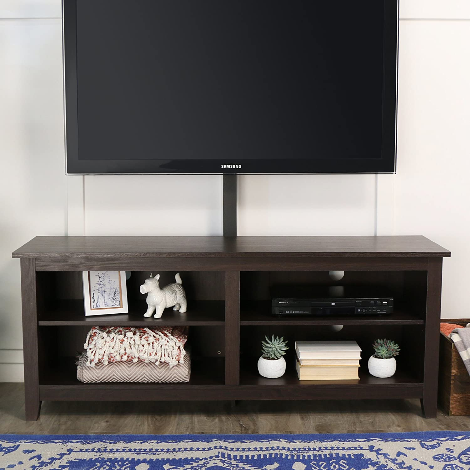 "WE Furniture 58"" Wood TV Stand Console with Mount, Espresso"