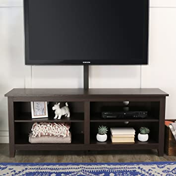 WE Furniture 58u0026quot; Wood TV Stand Console With Mount, Espresso