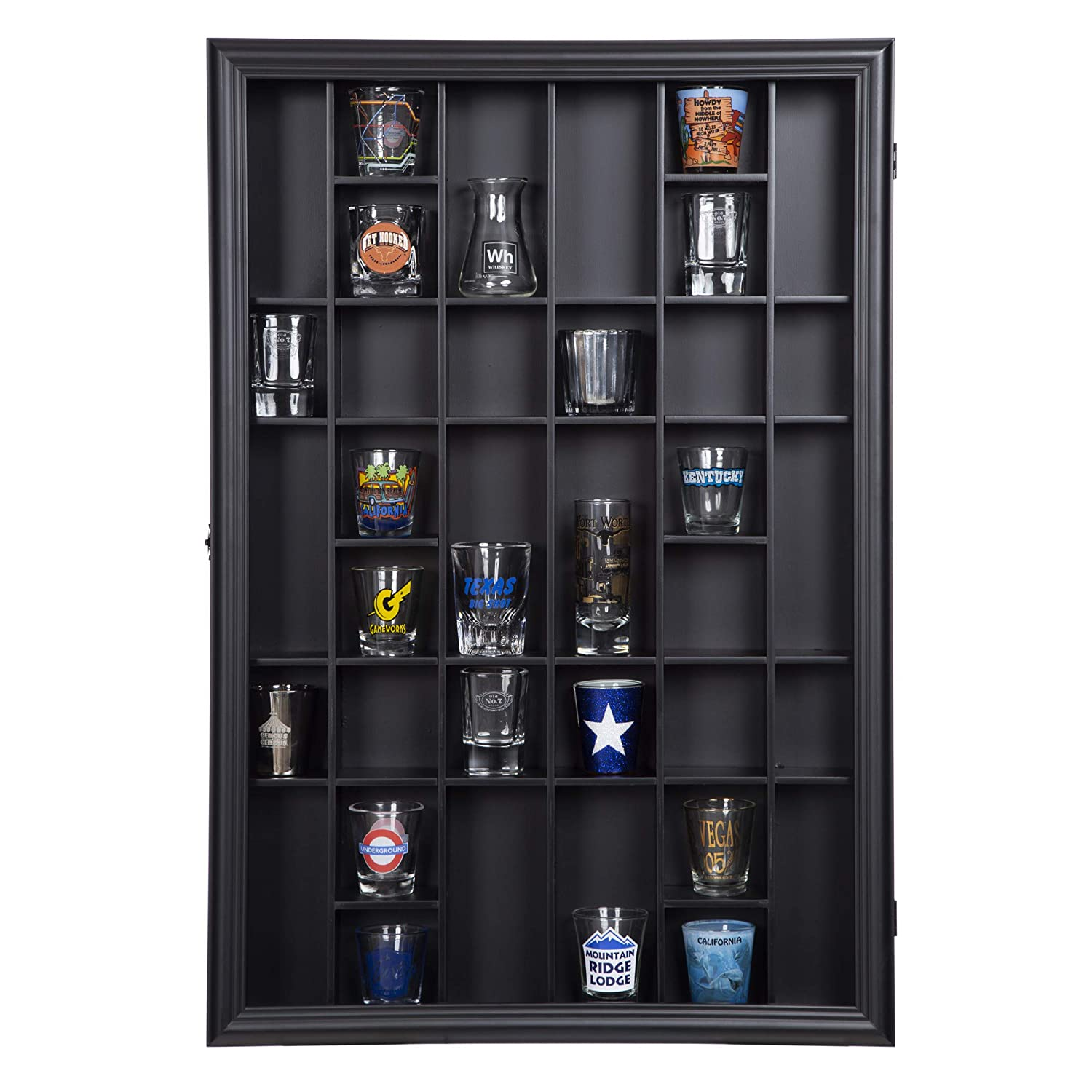 Gallery Solutions 17x21 Display Hinged Front, Black Shot Glass Case OD 17.8875X21.3125,