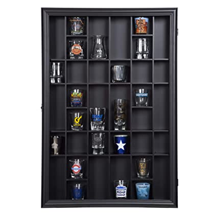 Gallery Solutions 17x21 Shot Glass Display Case With Hinged Front, Black
