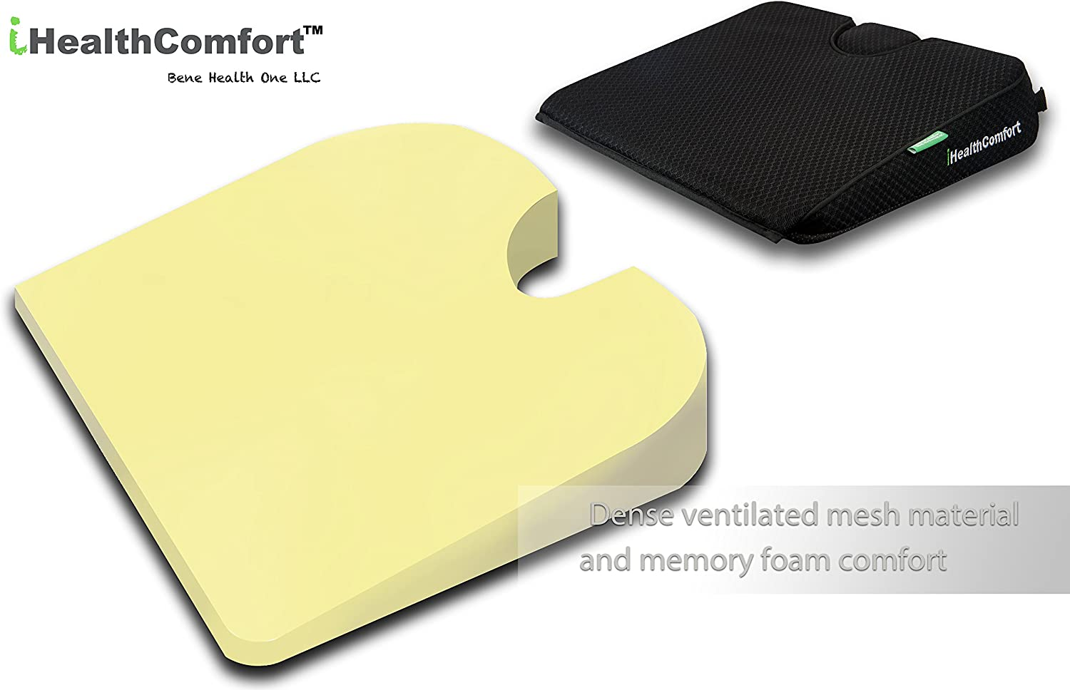 iHealthComfort Portable Wedge Seat Cushion Orthopedic Memory Foam Wellness Cushion