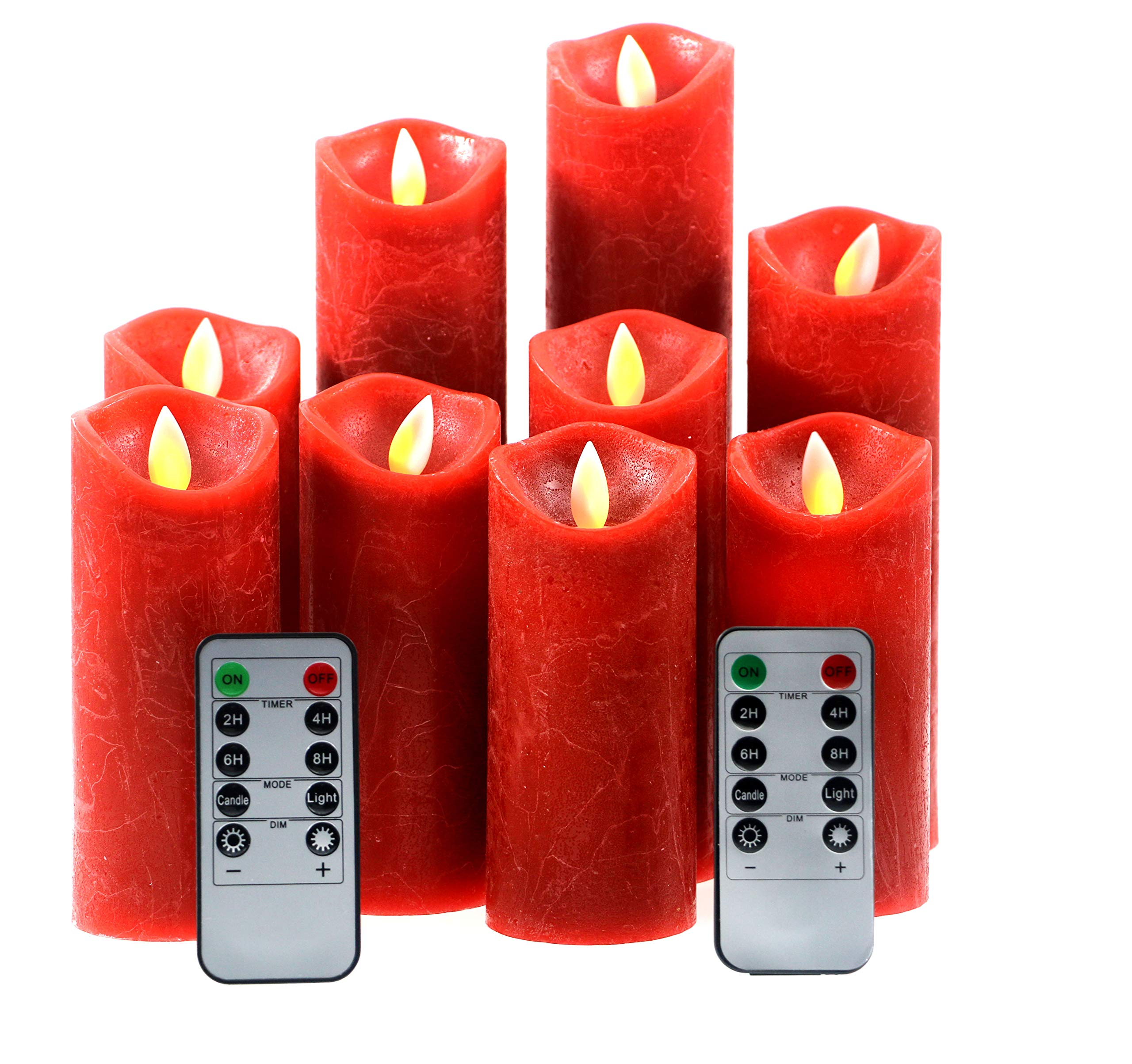 Kitch Aroma Red flameless Candles, Battery Operated LED Pillar Candles with Moving Flame Wick with Remote Timer,Pack of 9 by Kitch Aroma
