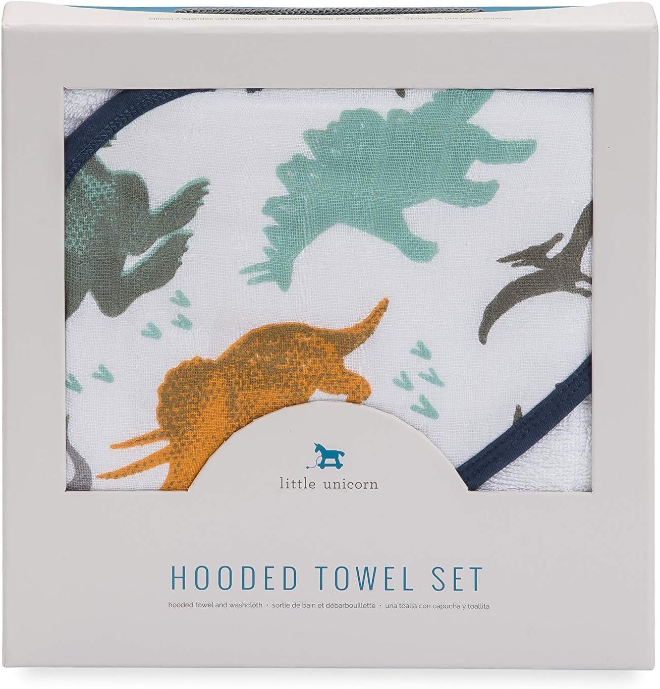 Navy Blue Little Unicorn Cotton Hooded Towel /& Wash Cloth Set Green Dino Friends