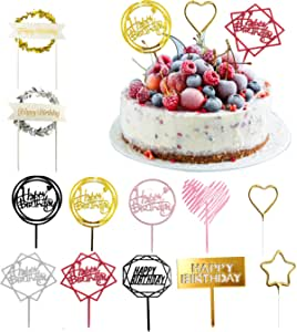 Premium Happy Birthday Cake Cupcake Toppers by GNAWRISHING, 12Pack Baking Decoration Supplies, 8 Double-Sided Glitter Acrylic Toppers, 2 Wreathes Gold&Silver, 2 Gold Foiled Candles Heart&Start