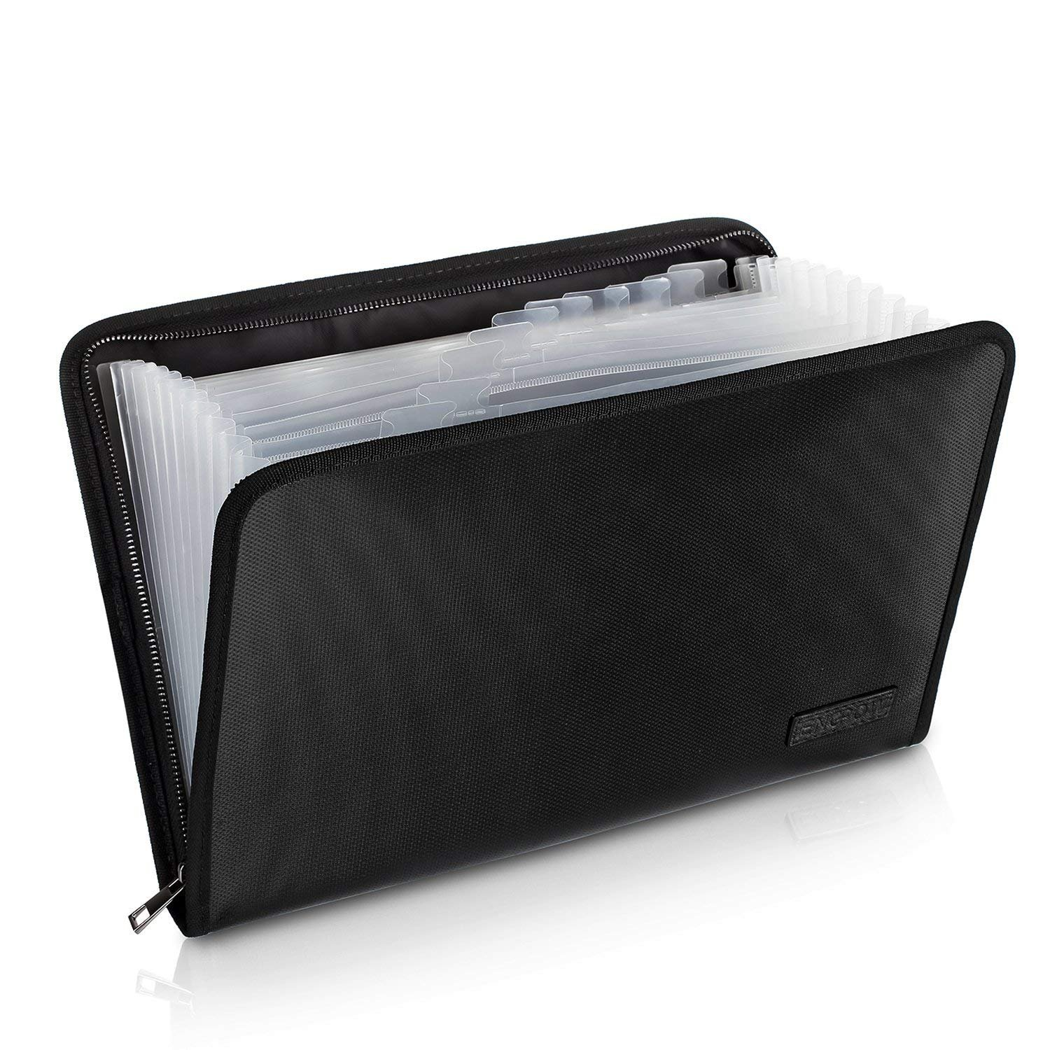 Fireproof File Folder Fireproof Fire and Water Resistant Money Document Bag with A4 Size 12 Pockets Zipper Closure Non-Itchy Silicone Coated Portable Filing Organizer Pouch(14.3' x9.8') (Black) ENGPOW