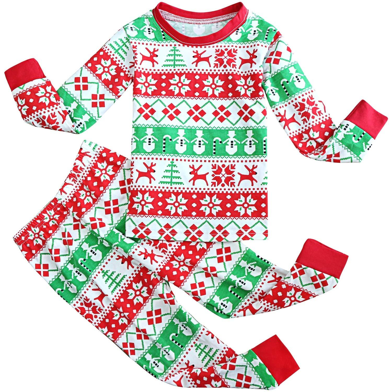 FANCYINN Jungen Mädchen Weihnachtsschlafanzüge Kleinkind Kinder Rentier Kostüm Langarm Nachtwäsche Nachtwäsche