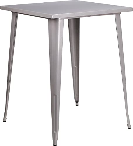 Flash Furniture 31.5 Square Silver Metal Indoor-Outdoor Bar Height Table