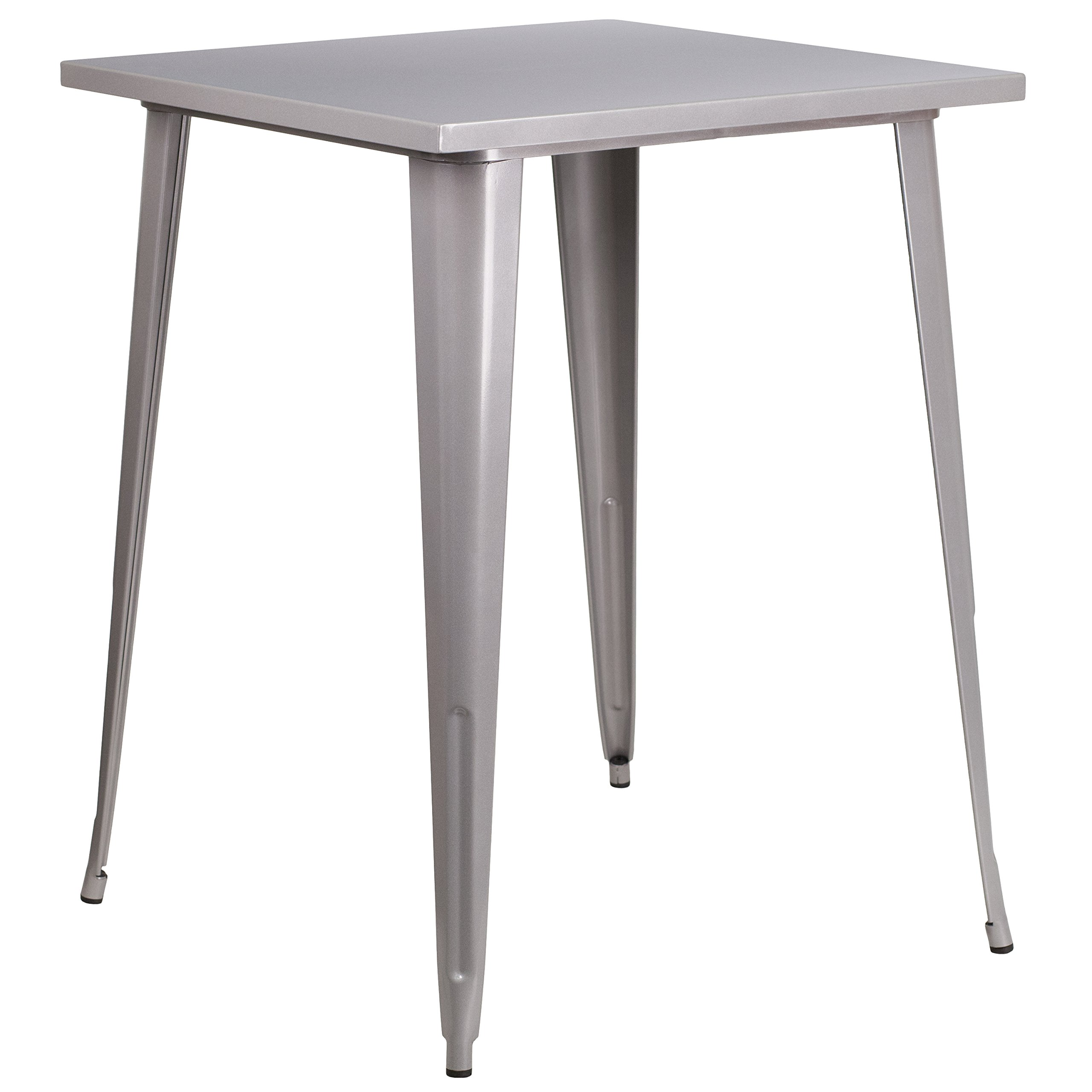Flash Furniture 31.5'' Square Silver Metal Indoor-Outdoor Bar Height Table