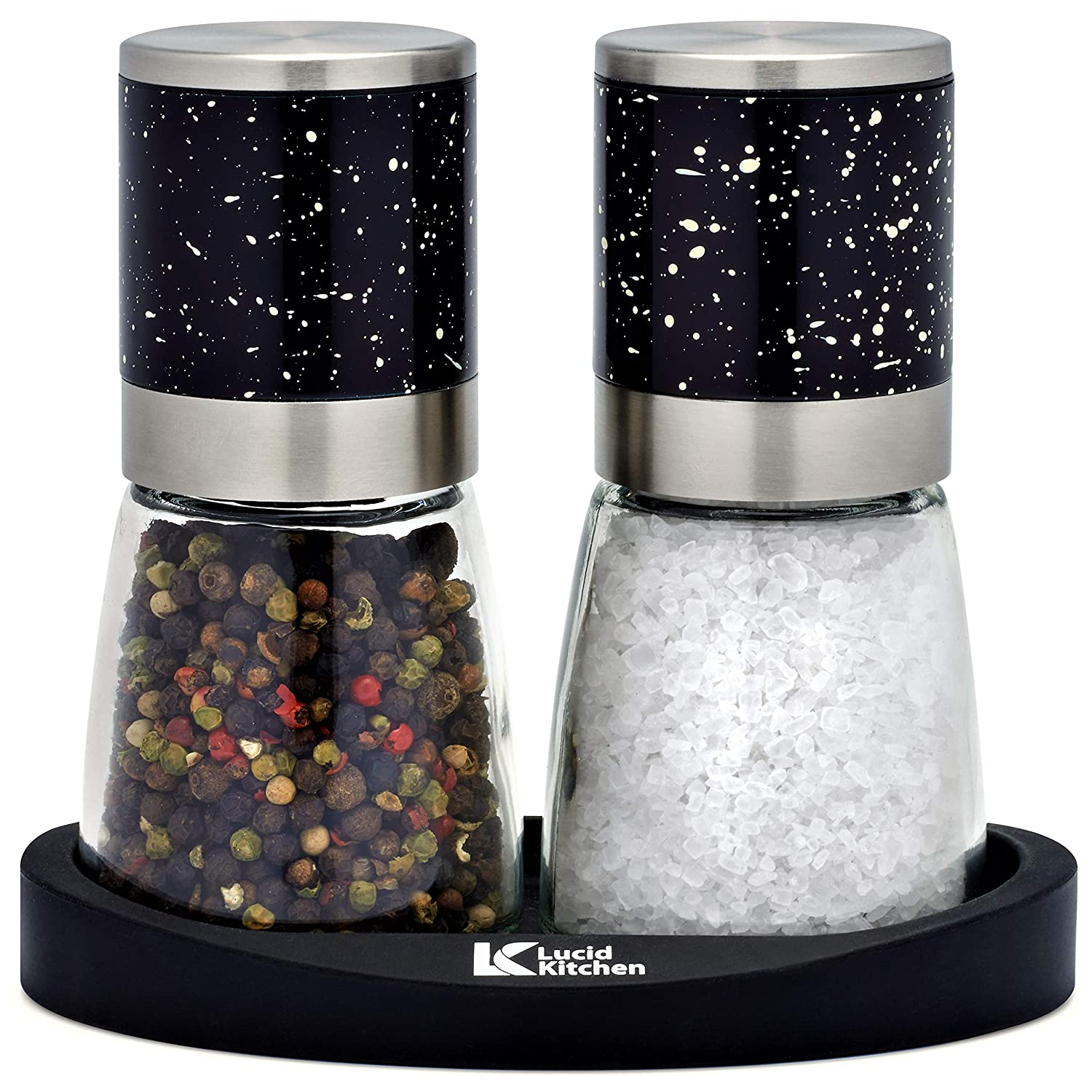 LucidKitchen Salt and Pepper Grinder Set with Stand - 2 Manual Stainless Steel Salt & Peppercorn Mills with Ceramic Core, Adjustable Coarseness & Large Glass Container - New Superior Design & Shape
